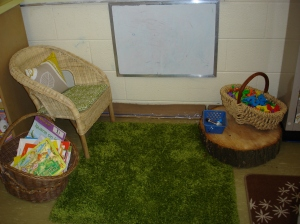 Where our students try their hand at playing teacher. Also a cozy spot to curl up with a book.