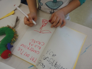 Our caterpillars inspired so much writing at the writing table!