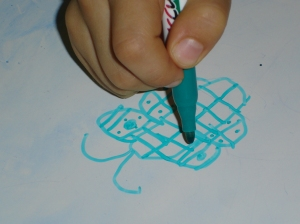 Art and Fine Motor Instruction: learning how to draw a butterfly. Much of this lesson was dedicated to symmetry.