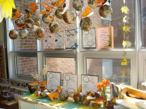 Documentation of our learning. We layered the children's work in a display that captured not only the growth and change of the caterpillars but of our own learning and understanding.