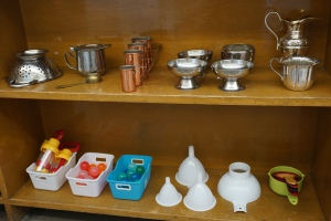 """A closer look at some of my new materials for the water table (also from the thrift store). My son played with these all summer, using herbs and plants from our garden for """"tea parties"""" and """"soup"""" - excited to see what the children do with them!"""